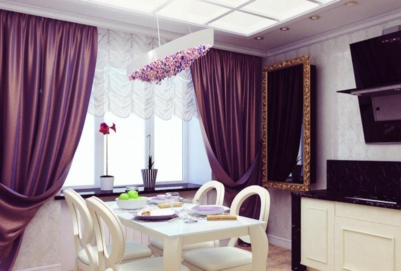 Черно белая кухня и фиолетовые шторы