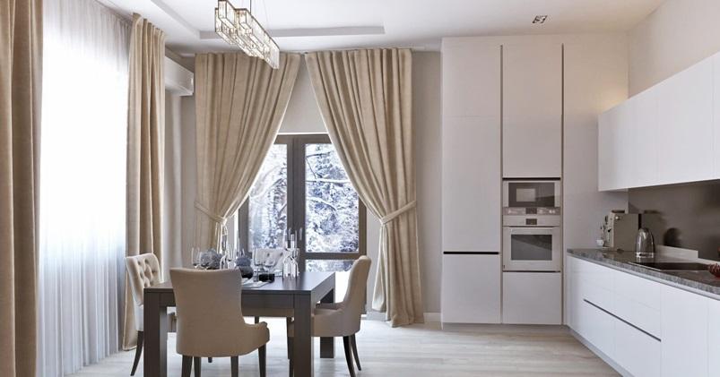 Белая кухня бежевые шторы