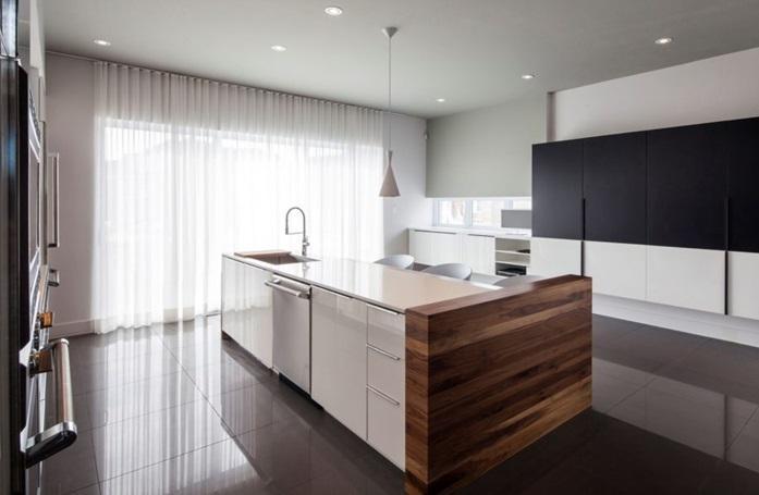 Кухня в стиле минимализм, современные идеи штор на кухню