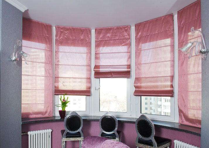 розоавые рулонные шторы
