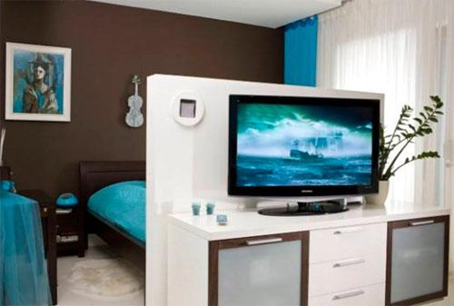 зонирование спальни гостиной низкой перегородкой
