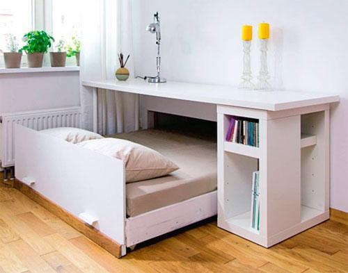 Раскладная кровать в гостиной, механизм выдвижной кровати