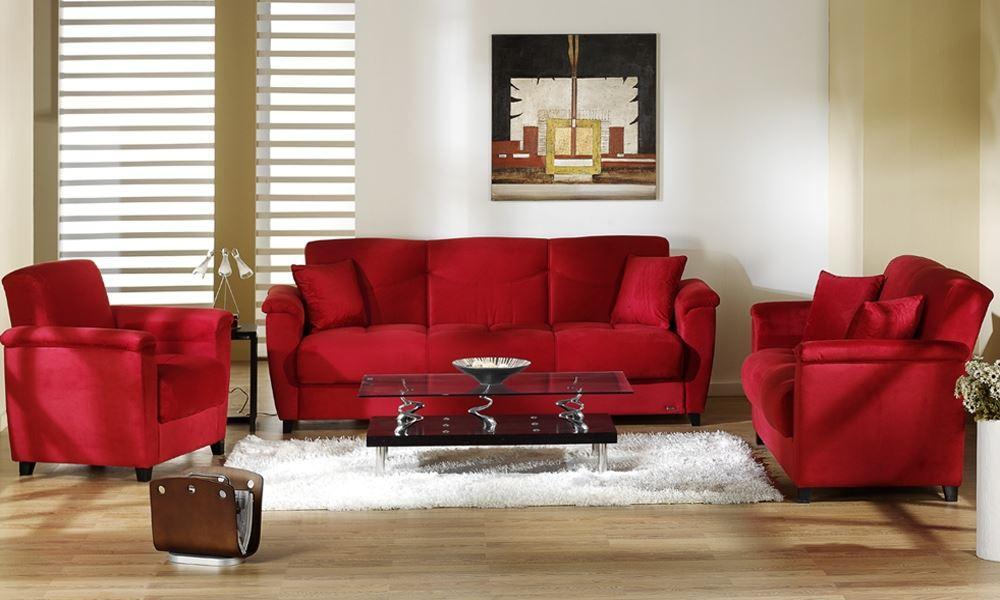 Красный диван и кресла - фото