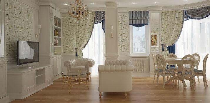 шикарные шторы в квартире-студии