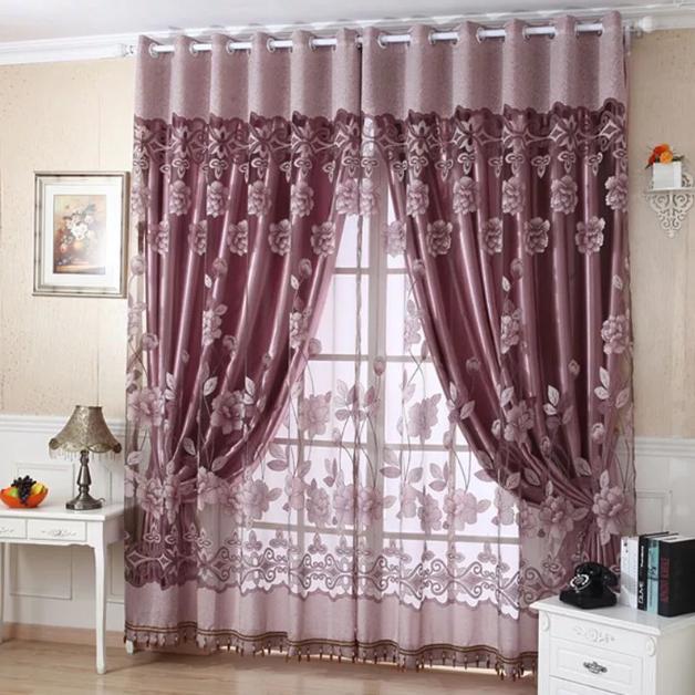 легкие шторы для гостиной бордо