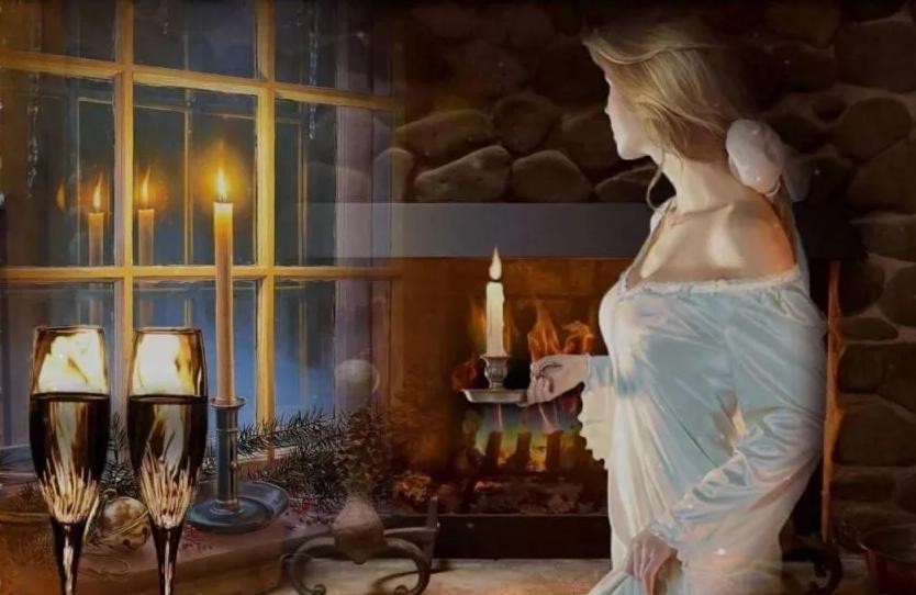 девушка со свечой у окна