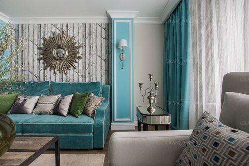 шторы бирюзового цвета в интерьере фото
