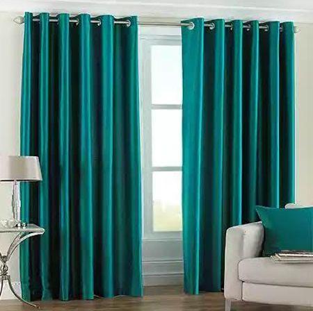 бирюзовые шторы в интерьере фото