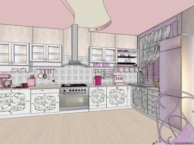 Дизайн – проект в стиле шебби – шик: кухня в серо-фиолетовых тонах.
