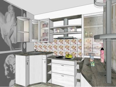 Дизайн серой кухни в стиле ретро для маленькой площади.