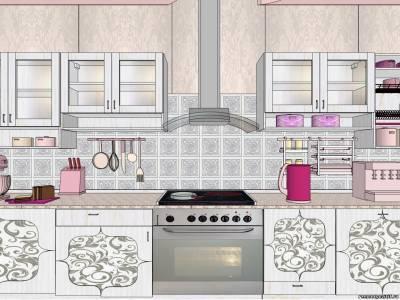 На рисунке серо-фиолетовая кухня с фасадами задекорированными методом декупажа.