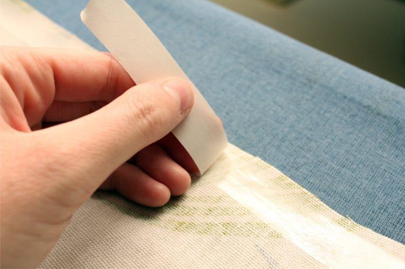 Одинарная подгибка с помощью клеевой паутинки на бумажной основе