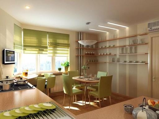 Ткань для римских штор должна подходить по цвету и фактуре всей обстановке кухни