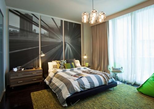 бежевые занавески в спальне фото