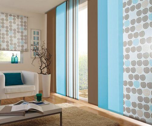 Панельные шторы в интерьере гостиной