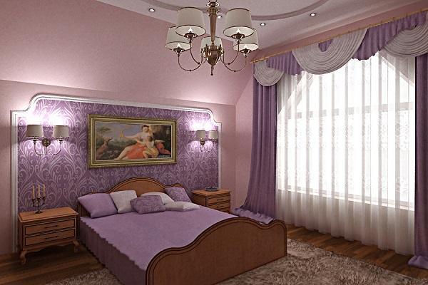 Сочетание светлых занавесок и темных штор в сиреневой спальне
