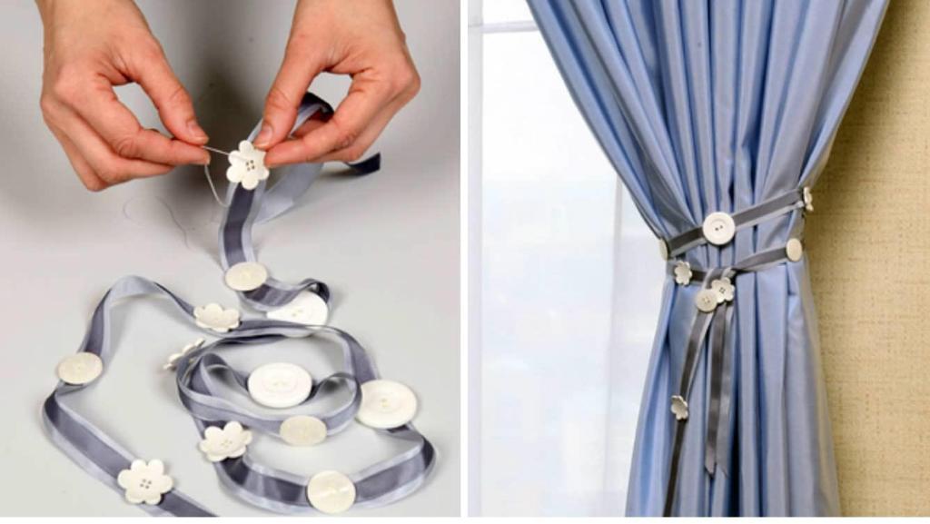 Пуговицы в сочетании с вашей смекалкой помогут сделать великолепные подхваты для штор