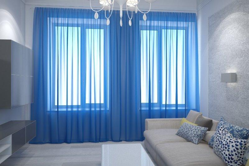 голубые шифоновые шторы