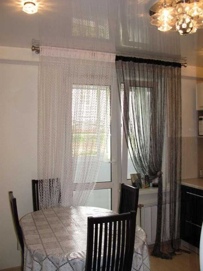 нитяные шторы на кухню с балконной дверью
