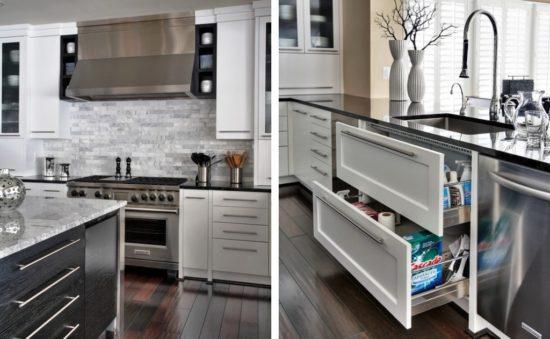 Дизайн бело-серой кухни и темная бежевая отделка