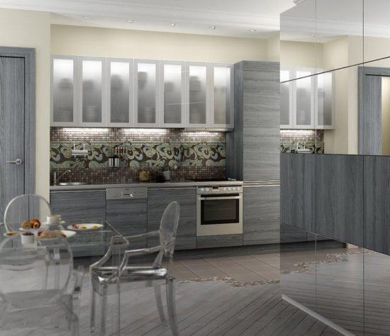 Керамический пол в кухне и гостиной, укрытая деревянным настилом