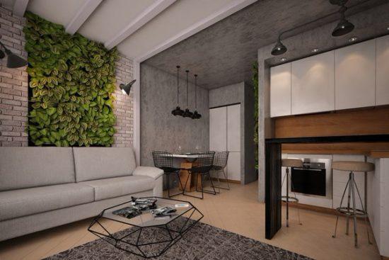 Кухня с темно-серыми обоями и гостиная со светлой отделкой