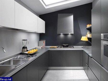 Серо-белая кухня – в стиле металлик