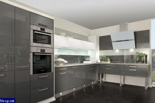Белая с серым кухня в стиле модерн