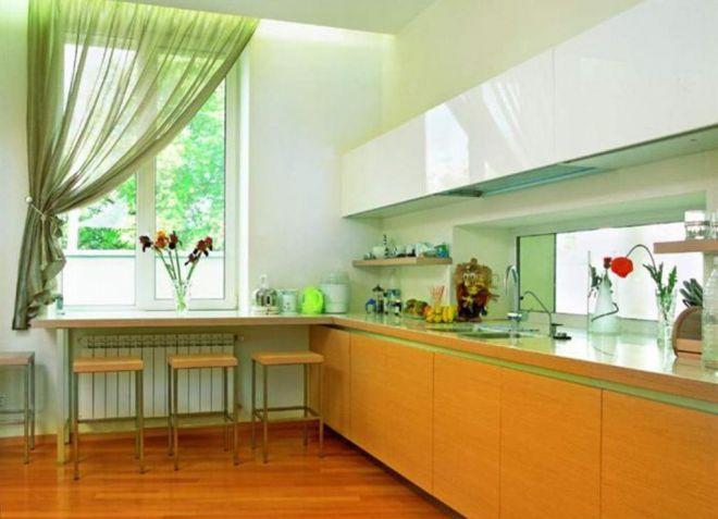 Зеленые шторы на кухню