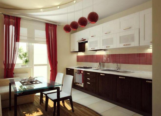 Красные шторы на кухню