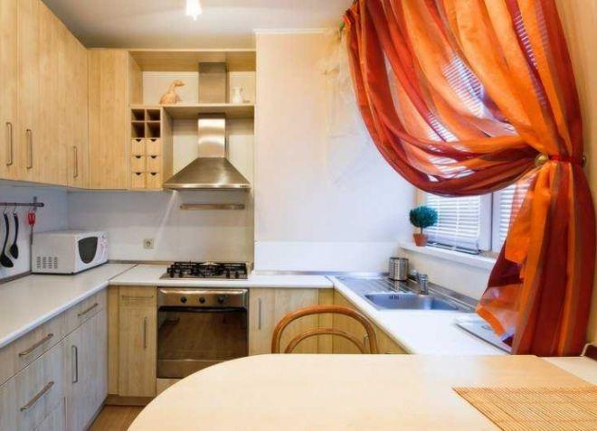Оранжевые шторы на кухню