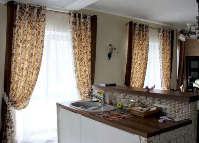 Шторы на кухню на люверсах