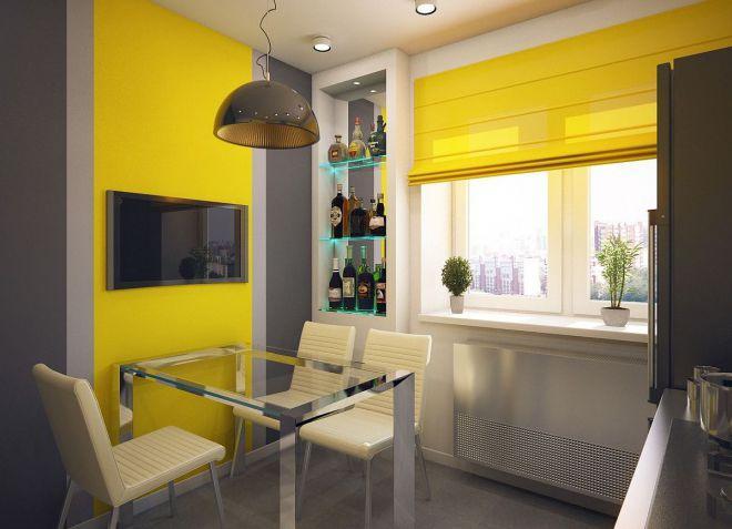 Желтые шторы на кухню