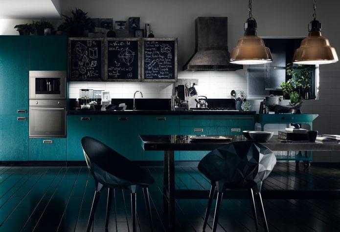 интерьер кухни в черно-бирюзовых тонах
