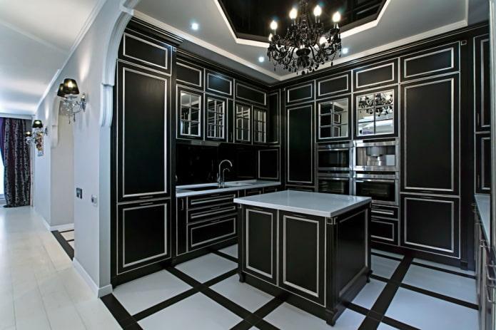 кухня в черных тонах в стиле арт-деко