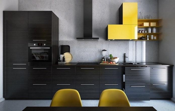 интерьер кухни в серо-черных тонах