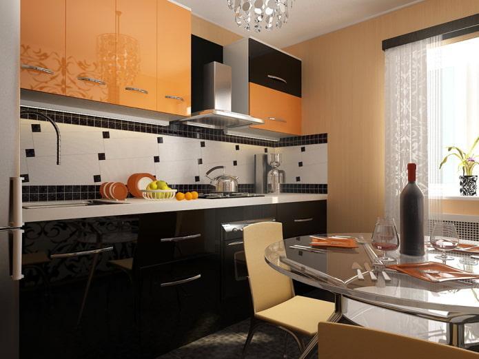 интерьер кухни в черно-оранжевых тонах
