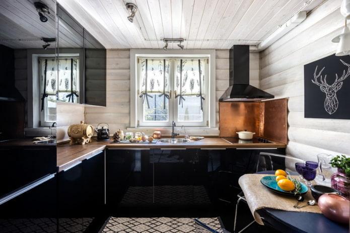 черный гарнитур в интерьере кухни