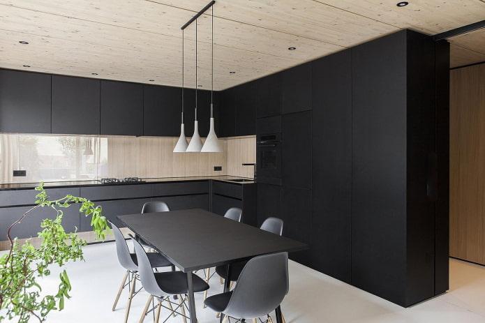 кухня в черных тонах в стиле минимализм