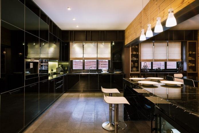отделка в интерьере кухни в черных тонах