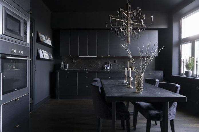 освещение в интерьере кухни в черных тонах
