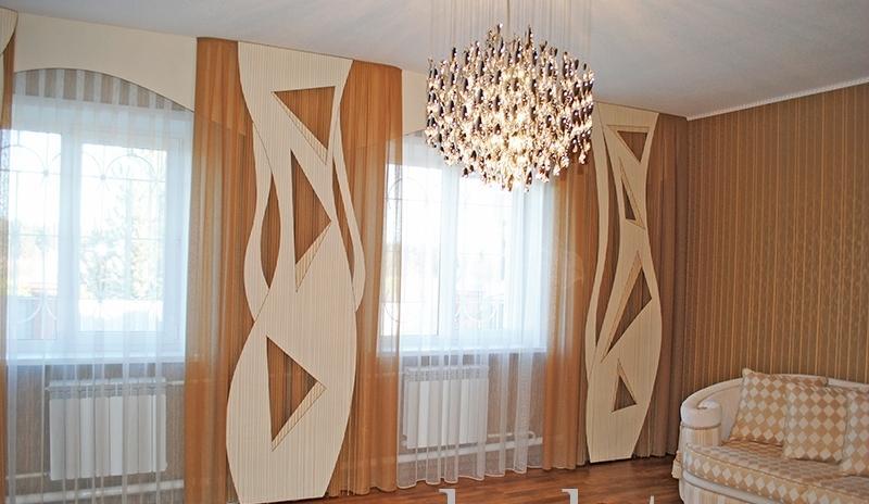 Геометрические фигуры - отличительная черта штор в стиле модерн