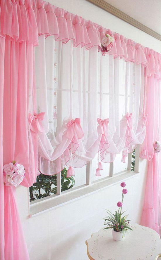 Нежно розовые шторы